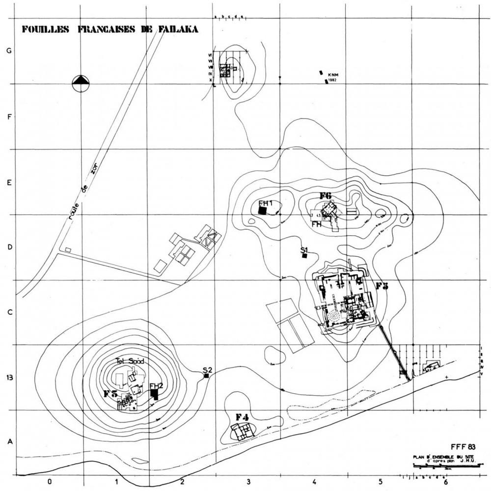 Fig. 2 : les sites F3, F4, F5 et F6 près du village d'ez-Zor, avec la grille de coordonnées américaine (d'après Salles, 1985)