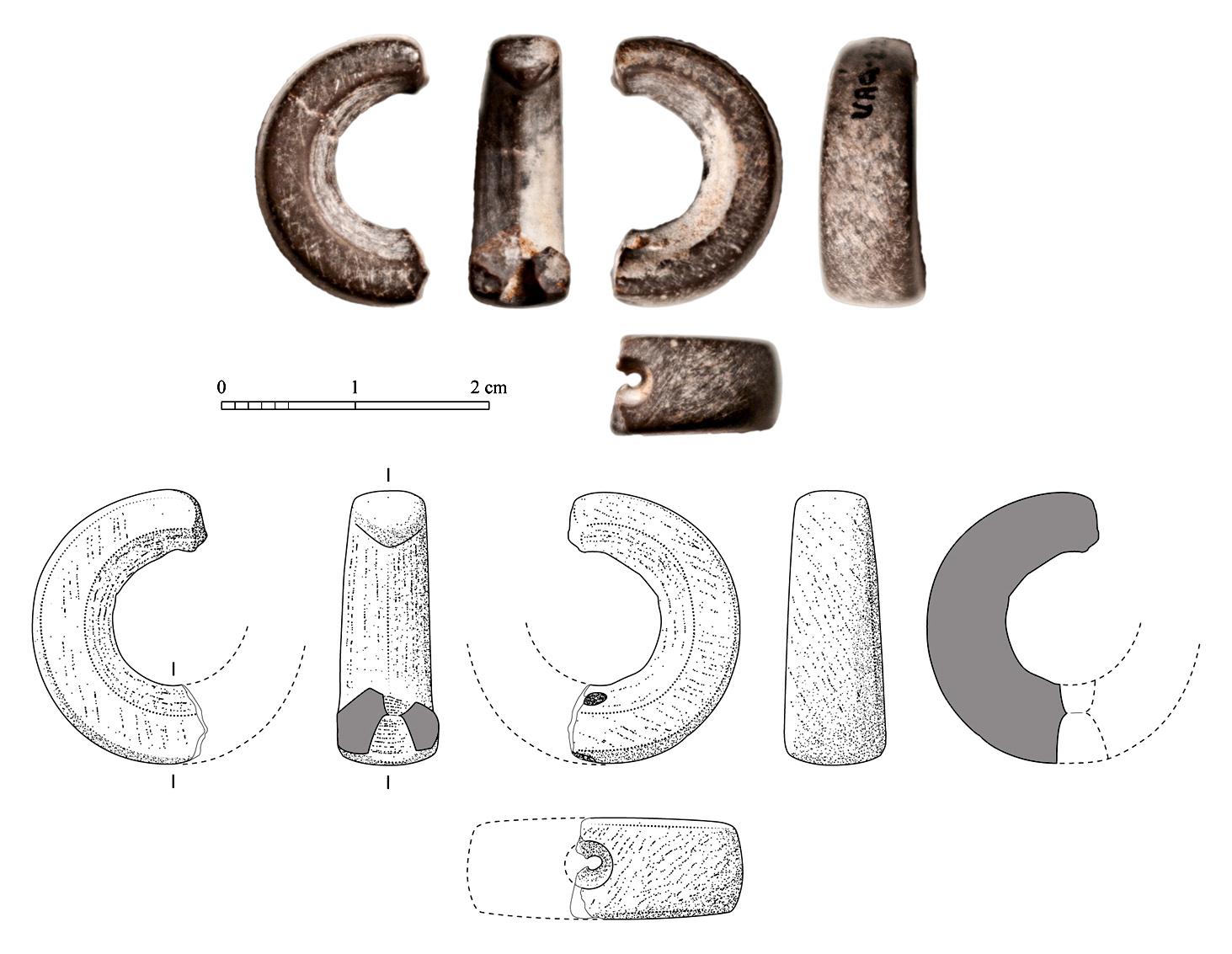 Fig. 2 : photographie et dessin vectoriel d'une parure en pierre tendre (H. David-Cuny, Joint Hadd Project 1998)