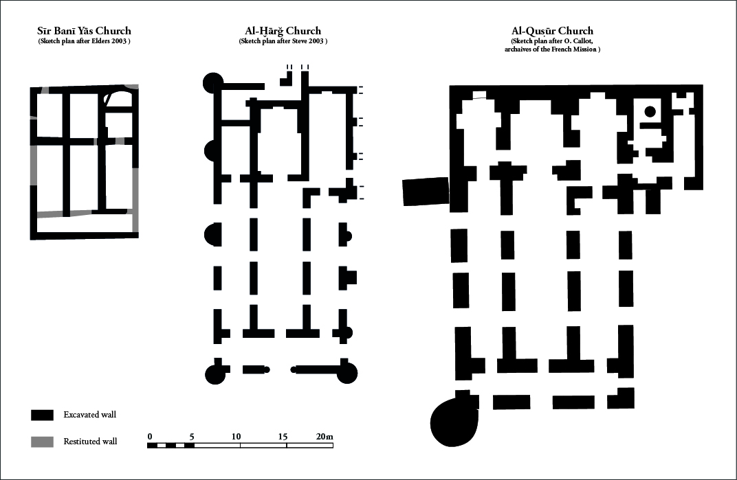 Fig. 2: sketch plans of the churches of Sir Bani Yas, al-Kharg, and al-Qusur (J. Bonnéric 2015)