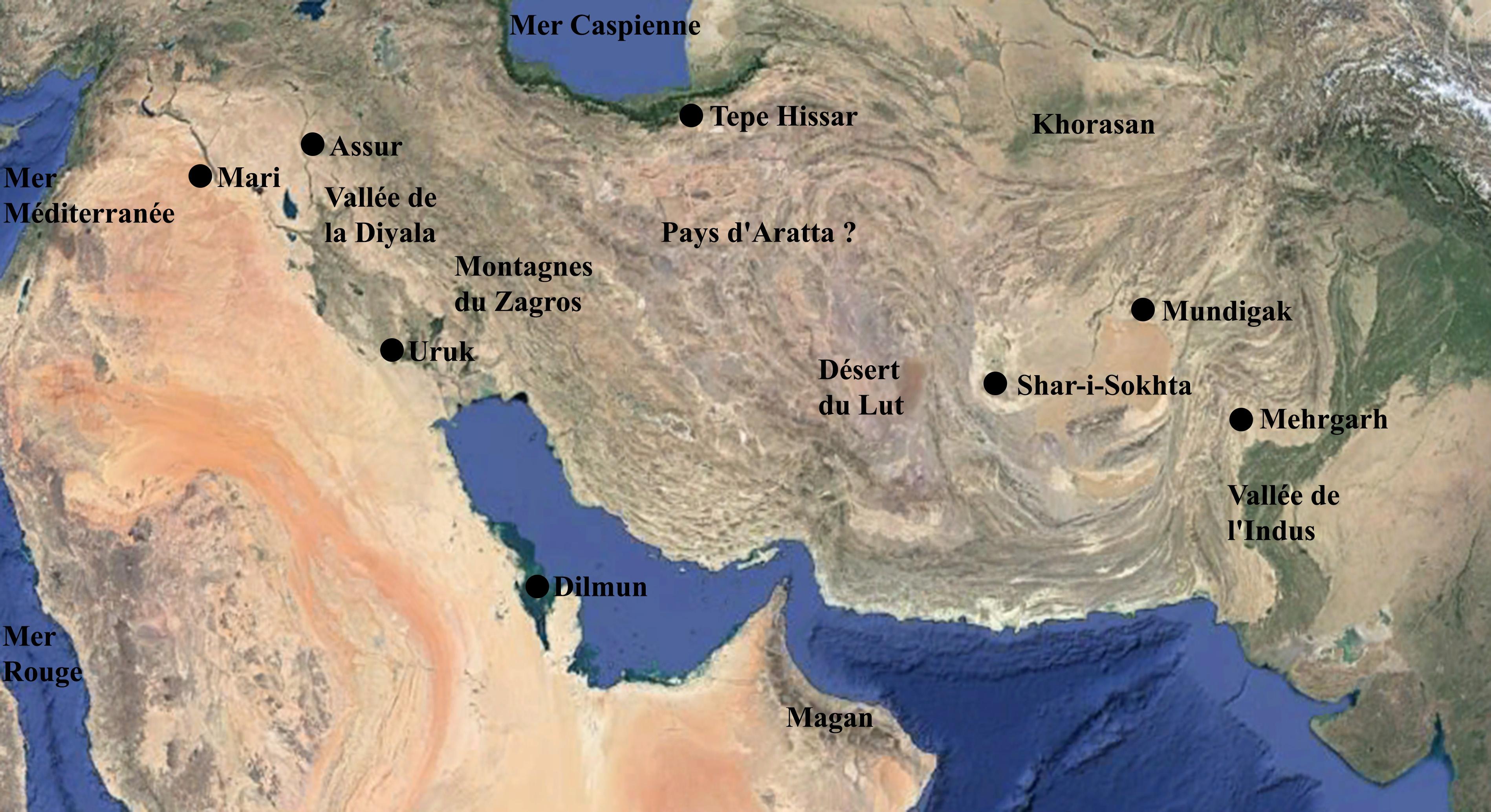 Fig. 1 : carte du Proche-Orient au Bronze ancien (B. Couturaud 2016 d'après Google Earth)
