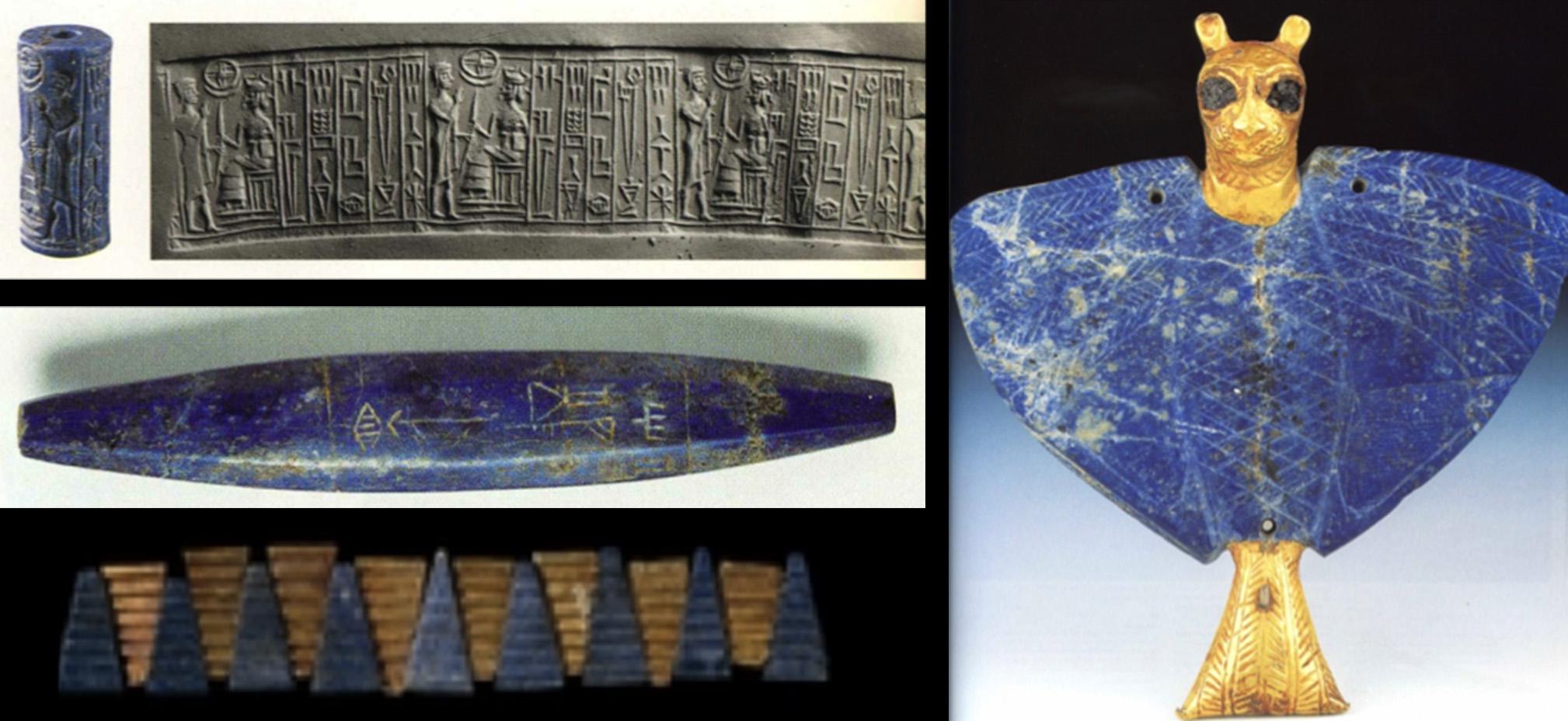 Fig. 3 : objets en lapis-lazuli : sceau-cylindre (DGAMS) ; perle gravée au nom du roi Meskalamdug (DGAMS) ; collier (British Museum) ; pectoral (DGAMS)