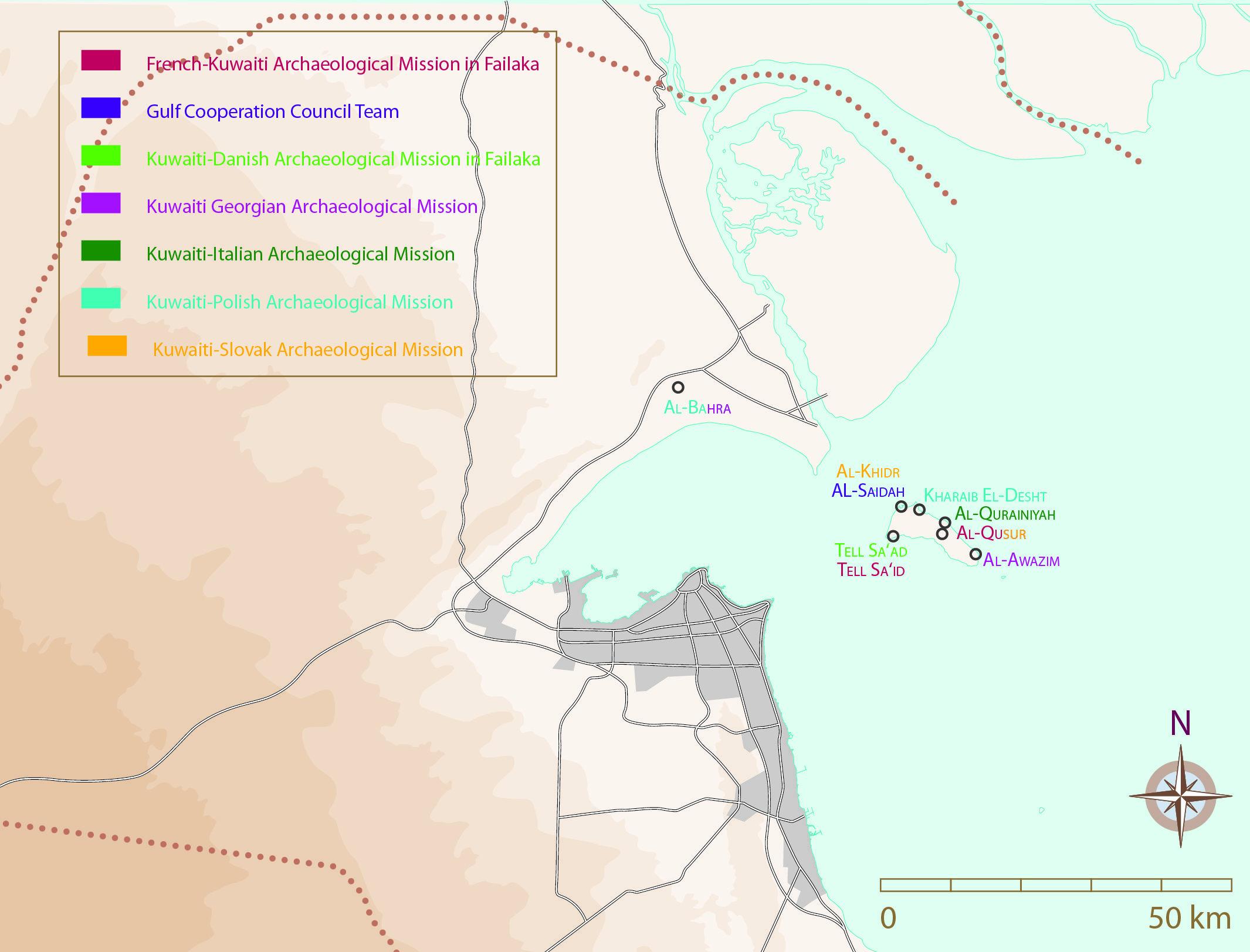 Fig. 2 : Carte figurant les sites fouillés au Koweït par des missions archéologiques conduites en collaboration avec des institutions extérieures (d'après H. David-Cuny).