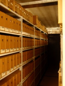 Archive boxes in the archive of the Netherlands Architecture Institute in Rotterdam