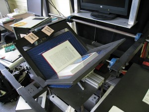 More details A book scanner at the Internet Archive headquarters in San Francisco, California. Dvortygirl - Own work GFDL