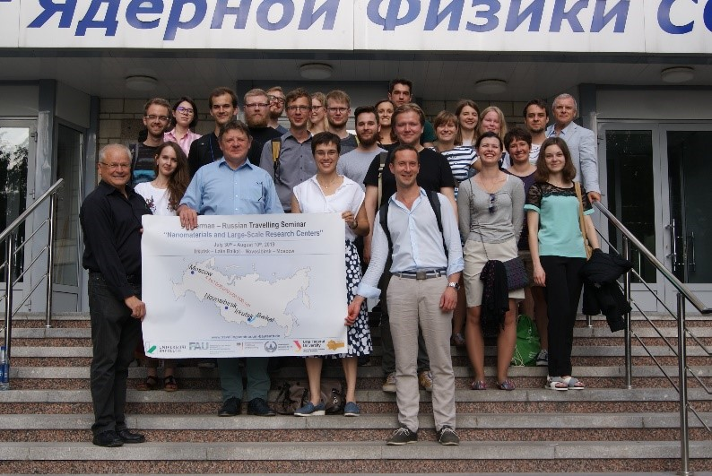 Group picture in front of the Budker Institute for Nuclear Physics, together with Konstantin Zolotarev.