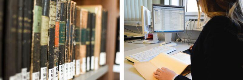 links: eine Reihe alter Bücher, rechts: Eine Mitarbeiterin des Bayreuther Universitätsarchives bei der digitalen Erfassung von Akten.