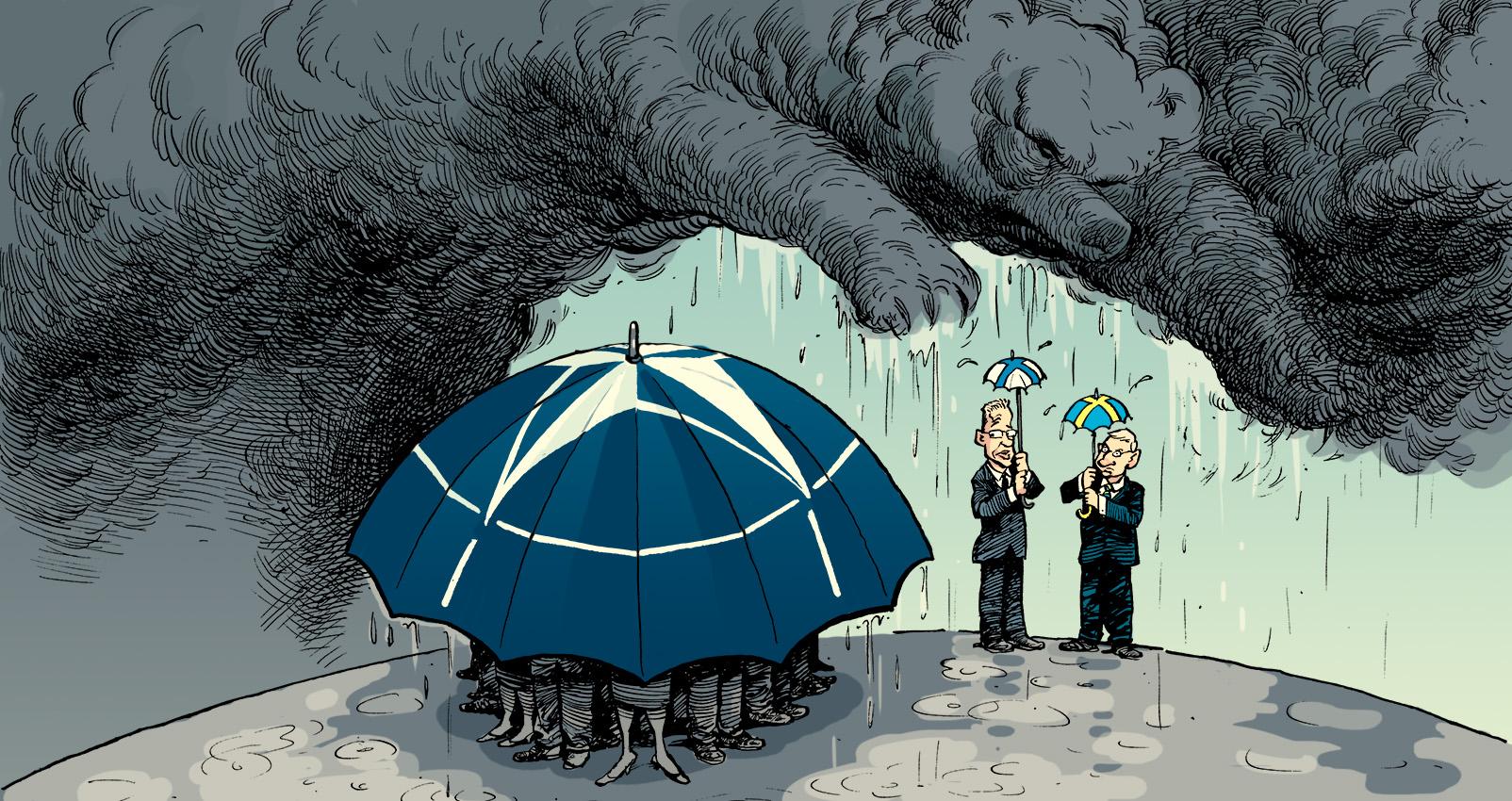 """<em>Finnland und Schweden außerhalb der NATO – für wie lange noch?</em><br>Der Cartoon von David Parkins erschien ursprünglich in <a href=""""http://www.economist.com/news/europe/21604586-russia-stokes-fresh-debate-among-nordics-about-nato-membership-what-price-neutrality"""" >The Economist</a>. <br>Verwendung mit freundlicher Genehmigung des Zeichners. Used with permission by David Parkins, originally published in <a href=""""http://www.economist.com/news/europe/21604586-russia-stokes-fresh-debate-among-nordics-about-nato-membership-what-price-neutrality"""" >The Economist</a>."""