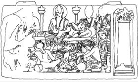 Fig. 1 : Sommeil des femmes, Londres, British Museum, d'après Zwalf, Fig. 174