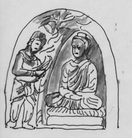 Fig. 14 : Pignon de stūpa, musée de Peshawar (d'après Kurita, fig. 337).