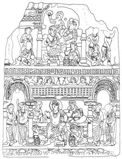 Fig. 2 : Concert et sommeil des femmes, prov. Jamrud, Karachi, Musée National, N° 567. D'après [cat. expo] Gandhara-Zürich, 2009-2010, Fig. 156.