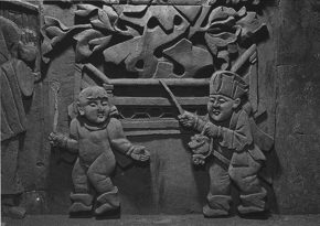 Fig. 9 : Jishan Macun, tombe 1 - Enfant et montures de bambou