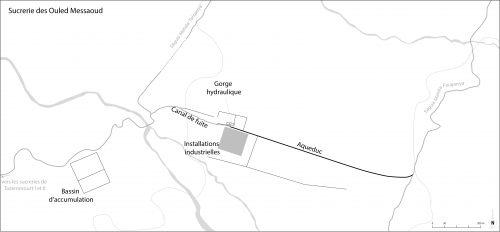 Figure 4 : Plan schématique des vestiges de la sucrerie des Ouled Messaoud.