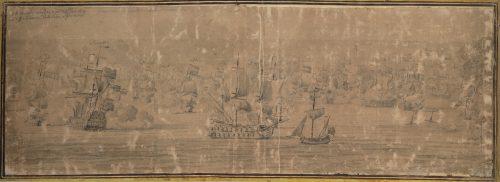 Figure 1. La première bataille de Schooneveld, 28 mai 1673. William Van de Velde dit l'ancien National Maritime Museum, Greenwich, inv . BHC0305. Date d'exécution : 1684. Plume et grisaille sur toile. 544 x 745 mm. Au premier plan sur la droite, le ketch sur lequel se trouvait le peintre.