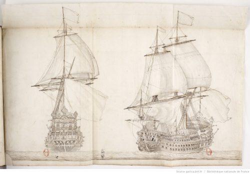Figure 4. Portrait du 'Royal Louis'. Construit entre 1666 et 1670 sous la direction de Rodolphe Gédéon, ce vaisseau fut sans conteste le plus luxueux lancé sur les eaux au XVIIe siècle, même si ses qualité nautiques laissèrent fortement à désirer. Ce dessin magnifique montre un « vaisseau heureux », parfaitement bien réglé. La devise du roi au pied de l'artimon : « je suis l'unique dessus l'onde et mon Roy l'unique dans le monde. »