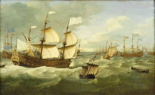 Figure 7 : Jan van Beecq, La jonction de la flotte française commandée par l'amiral d'Estrées et la flotte anglaise commandée par le duc d'York, avant la bataille de Solebay, huile sur toile, 78 x 130 cm, Paris, musée national de la Marine, inv. 1 0A 91.