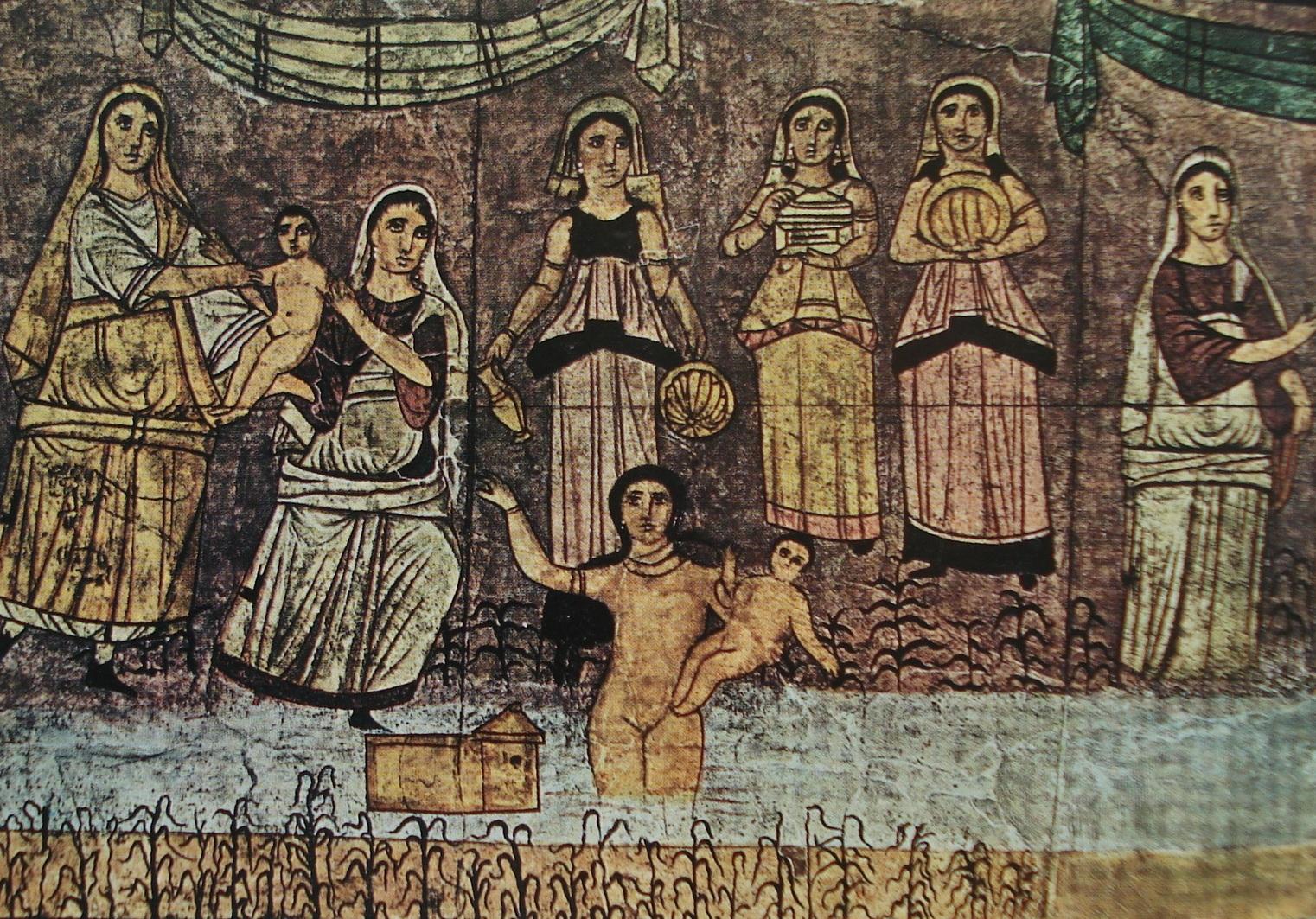 Fig. 2. Moïse sauvé des eaux. Peinture de la synagogue de Doura-Europos. SCHLUMBERGER, 1970, p. 110.