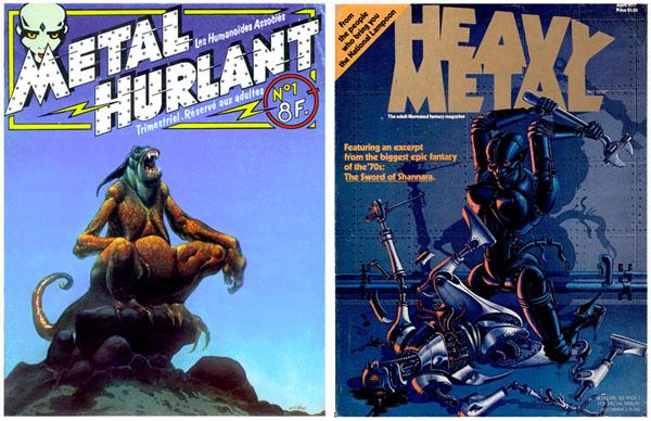 Métal Hurlant n°1 (couv. Moebius), décembre 1974 et Heavy Metal n°1 (couv. Nicollet), avril 1977