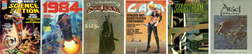 Six revues publiées en 1976-1977, Unknown Worlds of Science Fiction, 1984, Star*Reach, Gasm, Starstream et Ariel. (détails de ces publications via les liens ci-dessus)