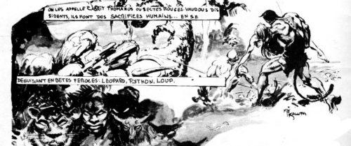 Un lettrage d'un amateurisme saisissant dans Histoires de Zombie n°1 (1978). Illustration de Mike Kaluta.