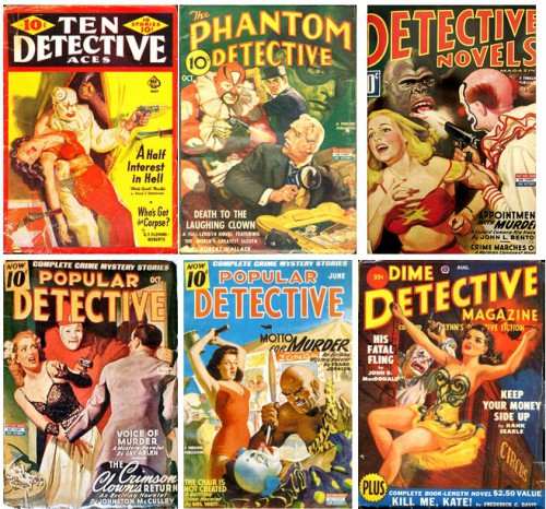 Ten Detective Aces, May 1941 / The Phantom Detective, October 1942 / Detective Novels Magazine, February 1944 / Popular Detective, October 1944 / Popular Detective, June 1945 / Dime Detective Magazine, August 1950