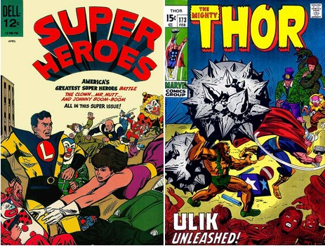 Superheroes #2, April 1967 / Thor #173, February 1970