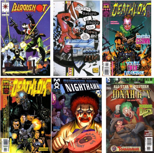Bloodshot #19, September 1994 / The Return of Happy the Clown #2, 1995 / Deathlok #4, November 1999 / Deathlok #11, June 2000 / Supreme Power - Nighthawk #3, January 2006 / All-Star Western Vol 3 #13, December 2012