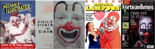 Mechanix Illustrated, August 1938 / The Clown, an album by Charles Mingus / National Lampoon, October 1979 / Fortean Times #226, August 2007