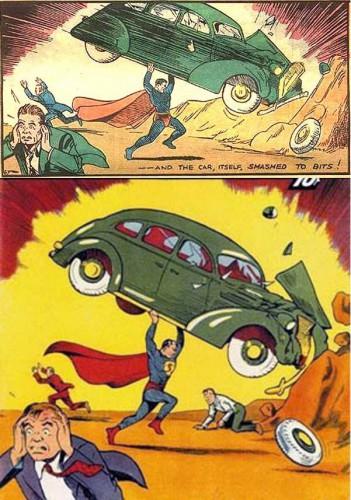 Comparaison entre le dessin de la page 9 et le dessin de couverture - Action Comics #1, June 1938
