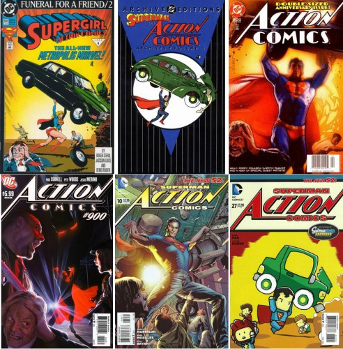 Action Comics #685, Art by Jackson Guice, January 1993 / Superman - The Action Comics Archives - Volume 1, [december] 1997 / Action Comics #800, Art by Drew Struzan, April 2003 / Action Comics #900, Art by Alex Ross (il existe trois variantes de couvertures), June 2011 / Action Comics #10 (2011 Series), August 2012 / Action Comics #27 (2011 Series), March 2014