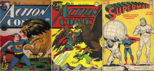 Action Comics #27, August 1940 / Action Comics #82, March 1945 / Superman #28, May-June 1944
