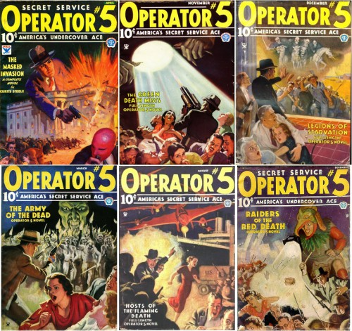 Operator Five v1#1, April 1934 / Operator Five v2#4, November 1934 / Operator Five v3#1, December 1934 / Operator Five v3#4, March 1935 / Operator Five v5#1, August 1935 / Operator Five v6#1, December 1935