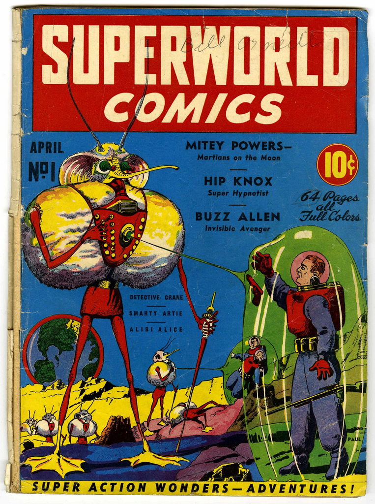 Superworld Comics #1, Frank R. Paul depicts Mitey Powers Martians on the Moon, April 1940, cover