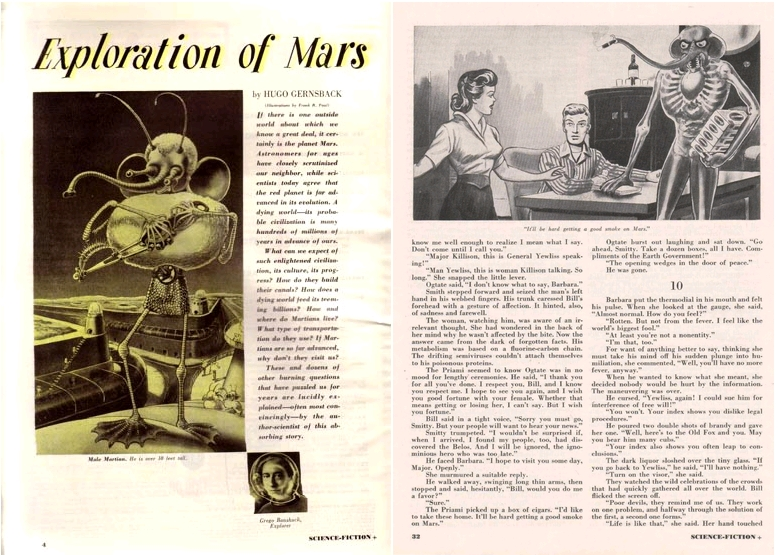 Science Fiction Plus, March 1953, Exploration of Mars, by Hugo Gernsback, art by Frank R. Paul / The Biological Revolt, by Philip José Farmer, art by Frank R. Paul
