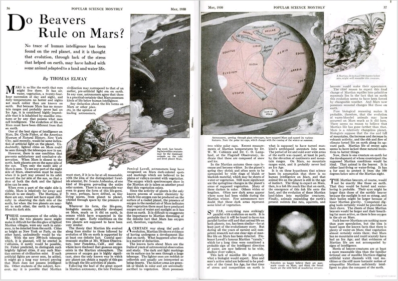 Do Beavers Rule on Mars, by Thomas Elway, Popular Science Monthly, May 1930, pages 56-57
