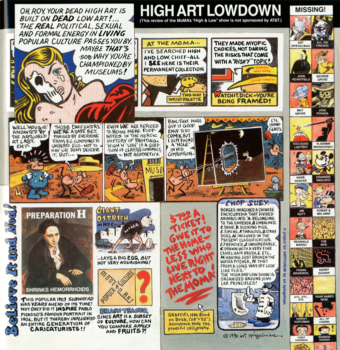 Art Spiegelman, High Art Lowdown. From Artforum, December 1990