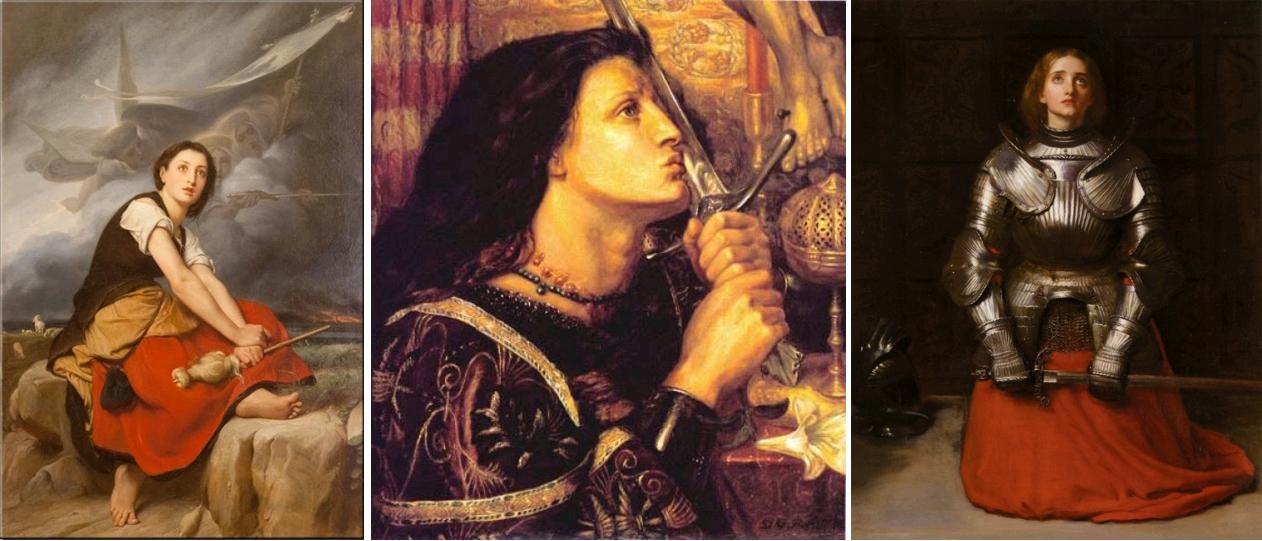 Jeanne séduisante (1). Jeanne d'Arc écoutant ses voix, François-Léon Benouville, circa 1850, Musée des Beaux-Arts de Rouen / Jeanne d'Arc embrassant l'épée de la délivrance, Dante Gabriel Rossetti, 1863, Strasbourg, Musée des Beaux-Arts / Joan of Arc, John Everett Millais, 1865