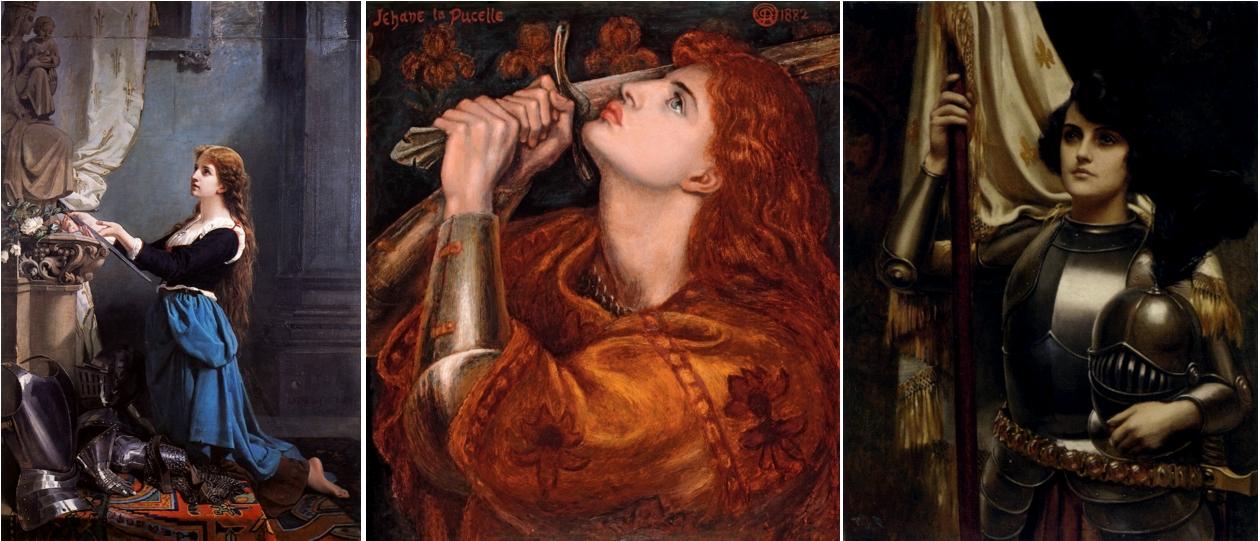 Jeanne séduisante (2). Jeanne d'Arc voue ses armes à la Vierge, Laure de Châtillon, 1869, Musée Antoine Vivenel, Compiègne / Jehane La Pucelle, Dante Gabriel Rossetti, circa 1879 / Joan of Arc, Harold Piffard, undated, circa 1895