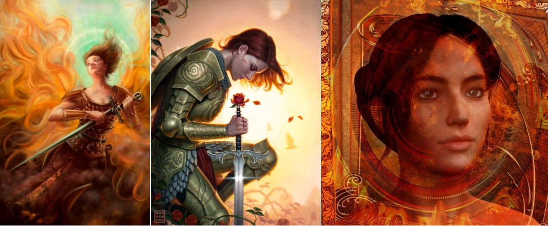 Jeanne séduisante (9). Joan of Arc, Christina Hess, for Illustration Master Class, 2010 / Rose red painted for the cover of DC Vertigo's 'Fables', issue #136, Dos Santos, The Joan of Arc thing was intentional, 2012 / Saint Joan of Arc, Holy Fire, by Suzanne Silvir, 2014