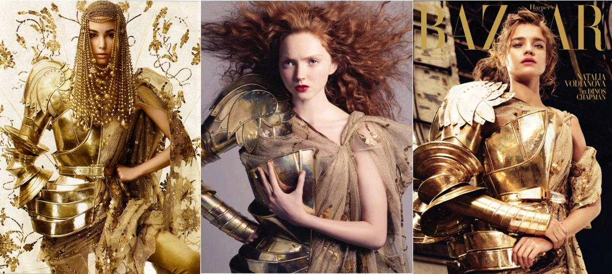 Marija Vujovic by Alix Malka, Telegraph Luxury November 2006, Chistian Dior by John Galliano / Lily Cole by Andreas Sjödin for Vogue Nippon January 2007, Lily wears metal armor pieces by Christian Dior (2006) / Natalia Vodianova as Joan of Arc, by artist Dinos Chapman, Harpers Bazaar UK, December 2010