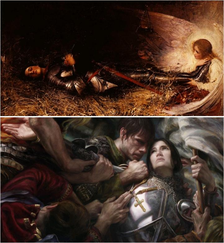 Jeanne séduisante (10). Le sommeil de Jeanne d'Arc, George William Joy, 1895, Rouen, Musée des Beaux-Arts / Joan of Arc, by Donato Giancola, 2012
