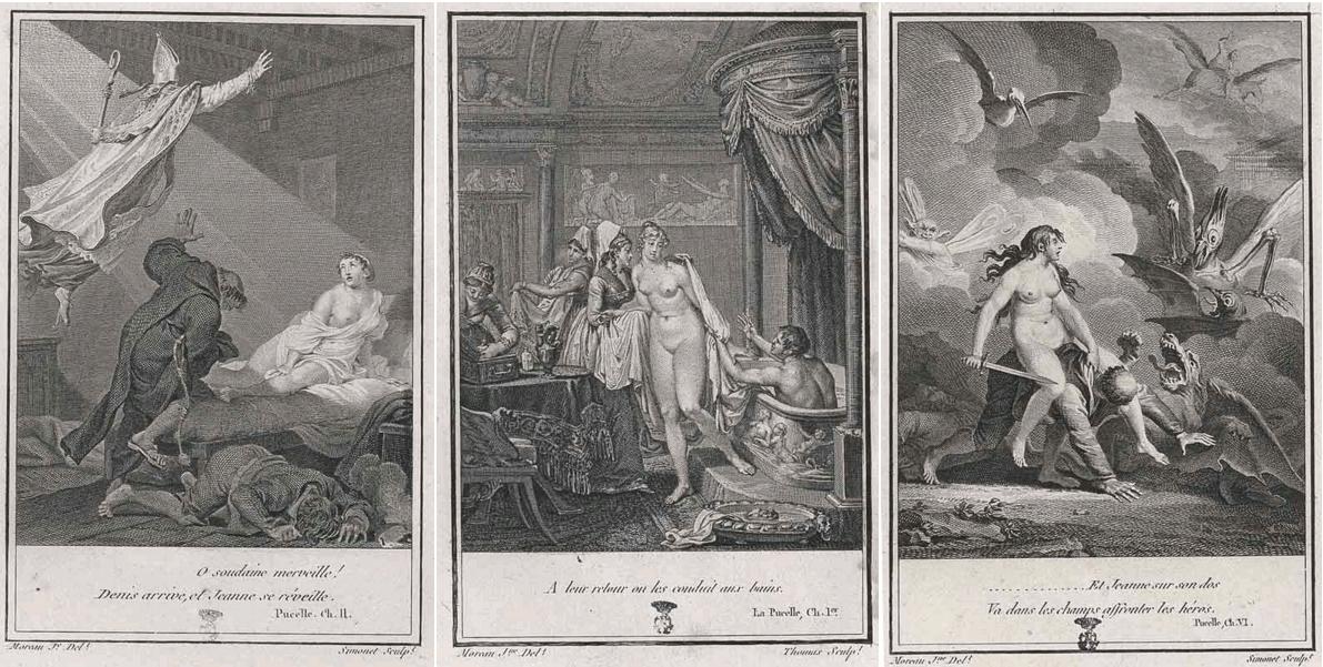 La Pucelle d'Orléans, Voltaire, vignettes de Jean-Michel Moreau, édition des Œuvres complètes de Voltaire, Paris, Antoine Augustin Renouard, 1819