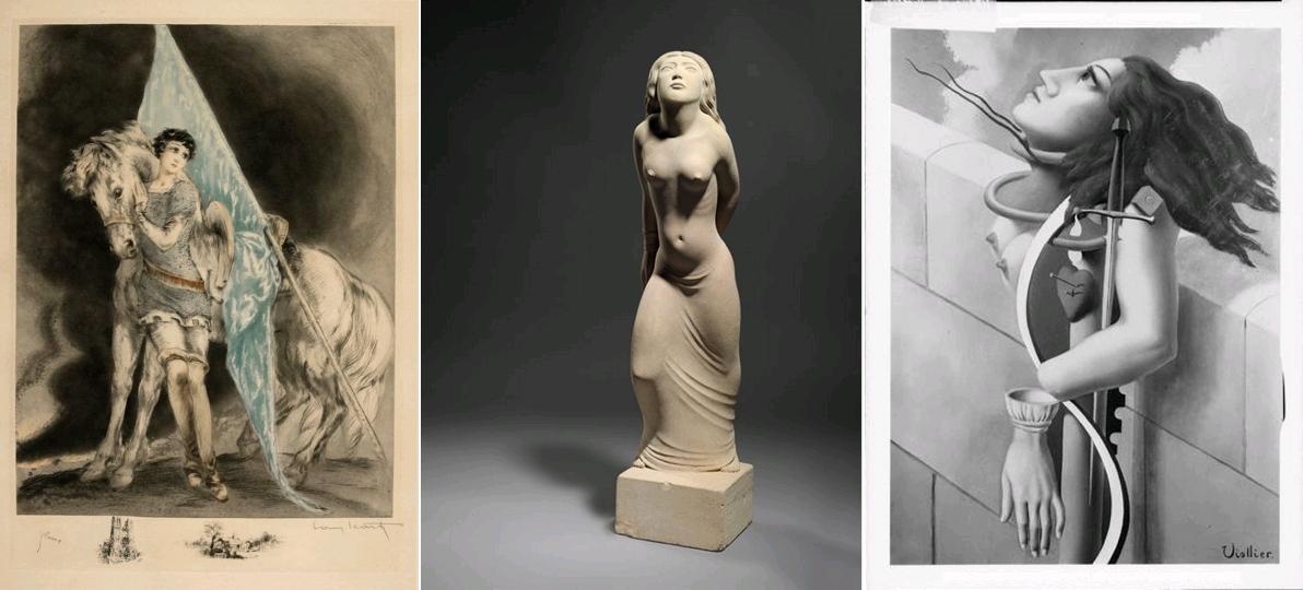 Jeanne érotisée (1). Jeanne d'Arc, par Louis Icart, 1929 / St Joan of Arc, by Eric Gill, A.R.A. (1882-1940), 1932, Caen / Jeanne d'Arc, par Jean Viollier, Collection de Léonce Rosenberg, circa 1935
