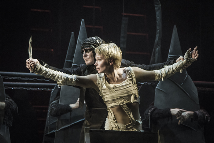 Alexander Matrosov as Cauchon and Anastasia Panina as Joan of Arc; choreography by Sergei Zemlyansky based on Bernard Shaw's play 'Saint Joan', Moscow's Pushkin Theater, photo Alex Yocu, 2015