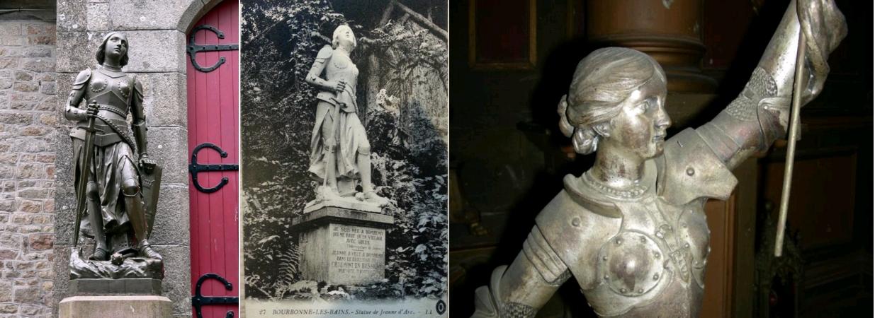Statue de Jeanne d'Arc, Fondeur RAFFL, Le Mont Saint Michel, entrée de l'église paroissiale de St-Pierre; statue commandée en 1901 et inaugurée en 1908 / Statue de Jeanne d'Arc à Bourbonne-les-Bains (statue disparue), carte postale, circa 1910, Centre Jeanne d'Arc d'Orléans / Jeanne d'Arc au combat, par J. Berthoz, église de Plesder, Ille-et-Vilaine, circa 1910