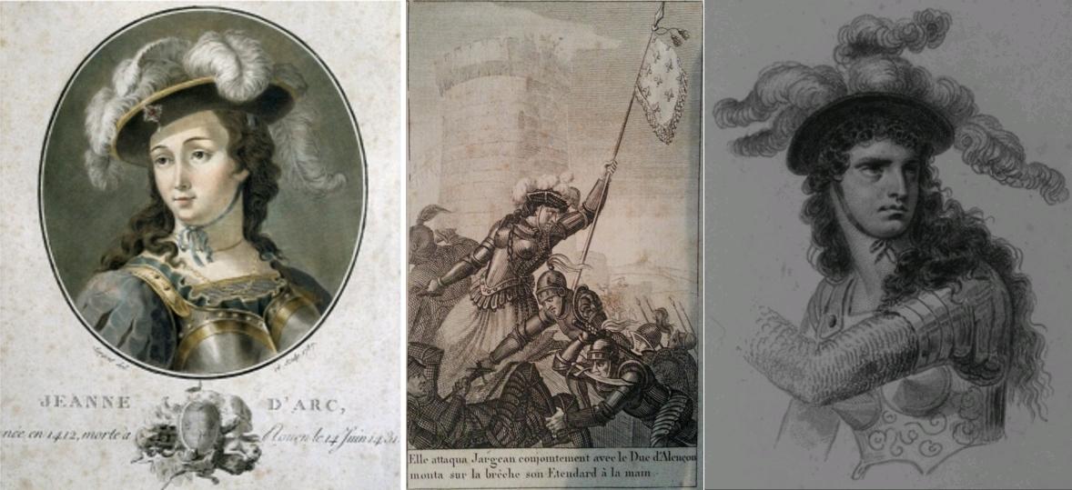 Portrait of Joan of Arc (1412-1431), engraving by Sergent, 1787. Full Credit DEA - M. Seemuller - Granger, NYC / Époques ou beautés et faits mémorables de l'histoire de France, depuis l'origine de la monarchie jusqu'à l'arrivée de Louis XVIII dans sa capitale, René-Jean Durdent, A. Eymery, 1818, Centre Jeanne d'Arc d'Orléans / Jeanne d'Arc, dessin de Raffet gravé par Ch. Ransonnette, 1840