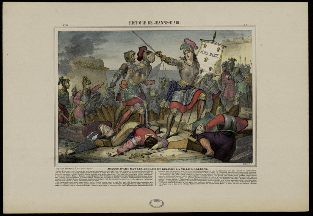 Jeanne-d'Arc bat les Anglais et délivre la ville d'Orléans, Image d'Épinal, circa 1875, Pellerin & Cie Editeurs, Épinal, Musée National de l'Éducation