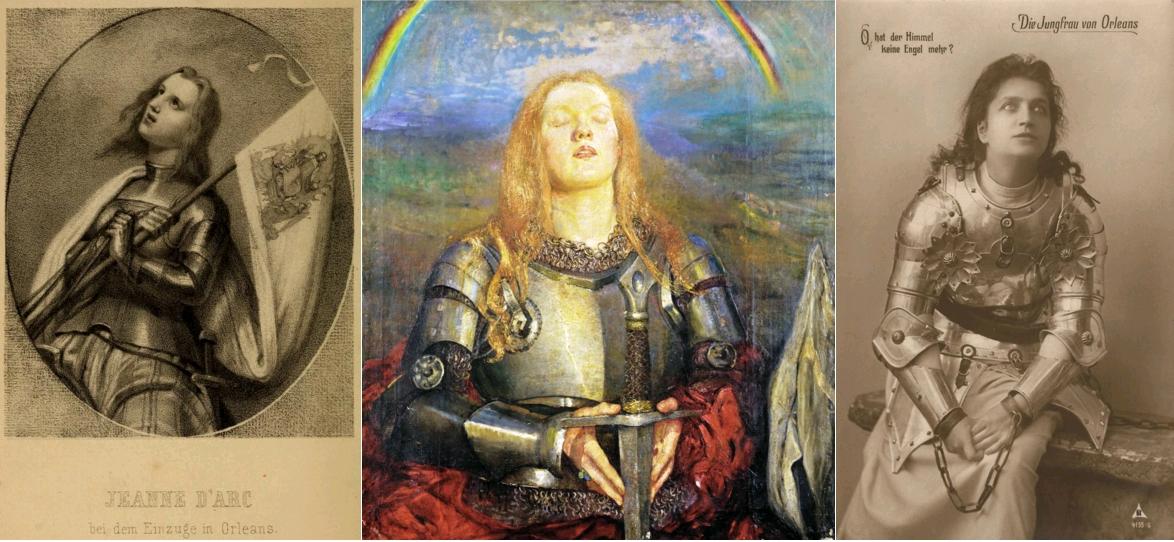 Jeanne d'Arc, by Karl Friedrich Heinrich Strass, Berlin, O. Foerste, 1862 / Joan of Arc, Annie Louise Swynnerton, 1904 / Die Jungfrau von Orleans bei Friedrich Schiller, carte postale allemande, 1907