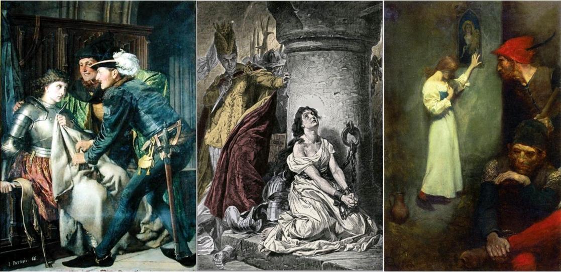 Jeanne d'Arc insultée en prison, Isidore Patrois, 1866 / Jeanne d'Arc en prison à Rouen, gravure couleur du 19e siècle / Joan of Arc in Prison, by Howard Pyle, circa 1905