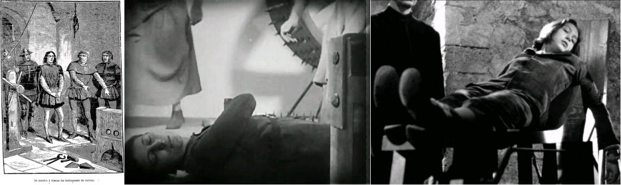 """""""On montra à Jeanne les instruments de torture"""", Jeanne d'Arc - grand roman national, par Jules Lermina, L. Boulanger (Paris), 1888 / La Passion de Jeanne d'Arc, dir. Carl Theodor Dreyer, avec Renée Falconetti, 1928 / Procès de Jeanne d'Arc, dir. Robert Bresson, avec Florence Carrez [Florence Delay], 1962"""