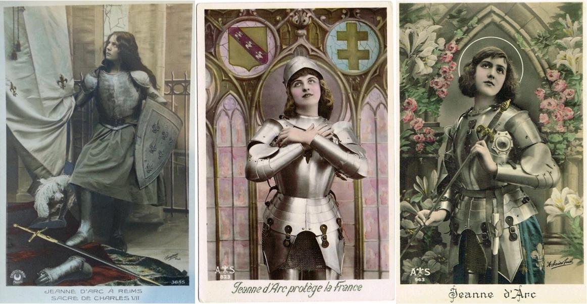 Jeanne d'Arc à Reims, Sacre de Charles VII, carte postale colorisée, circa 1910 / Jeanne d'Arc protège la France, carte postale, circa 1910, Centre Jeanne d'Arc d'Orléans / Jeanne d'Arc, carte postale colorisée, après 1920 [cf. auréole]